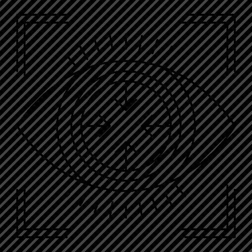 big data, eye, focus, goal, target, view icon