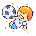 football, jump, kick ball, overhead kick, player, soccer, sport icon