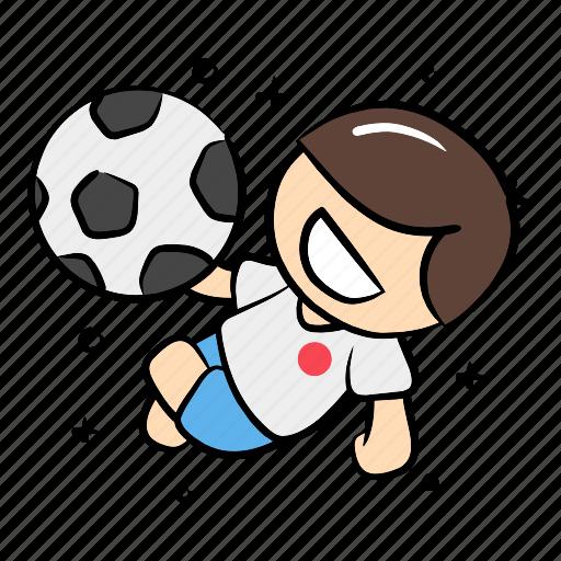 football, jump, kick ball, overhead kick, player, soccer, sport icon