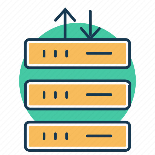 data center, data flow, data transfer, database protection, database server, network, transaction icon