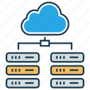 bigdata, cloud database, cloud server, data center, data server, hosting server, network icon