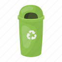 bio, container, eco, ecology, nature, trash, trash can icon