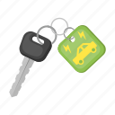 bio, car, eco, ecology, electric car, key, nature icon