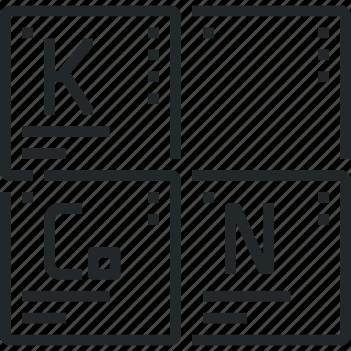 atom, chemistry, elements, mendeleev, periodic, table icon