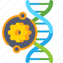 biotech, dna, gear icon