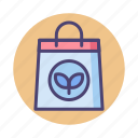 organic bag, paper bag, recycle bag, reusable bag icon