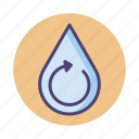 reuse water, water, water recycling, water treatment icon