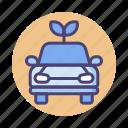 car, emission, green vehicle, hybrid car, zero, zero emission icon