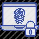 biometric access, biometric identification, biometry, laptop fingerprint security, online authentication icon