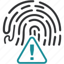 allert, biometric, data, fingerprint icon