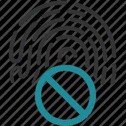 access denited, biometric, data, fingerprint, identification, identity icon