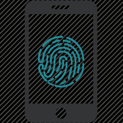 biometric, fingerprint, phone lock, protection, scan, security icon