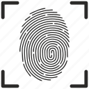 biometry, finger, fingerpring, scan icon