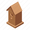 bird, cartoon, feeder, food, house, isometric, tree icon
