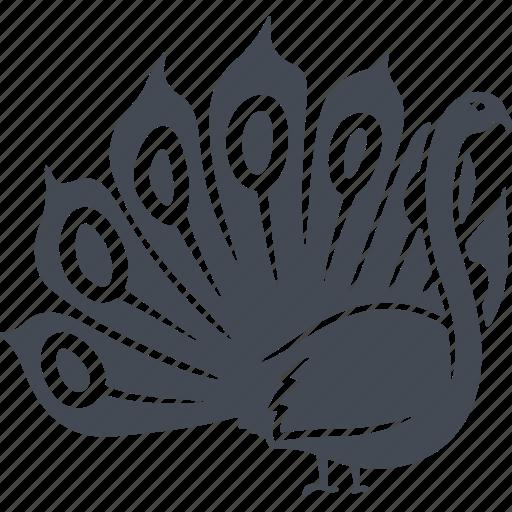 beak, bird, birds, ecology, nature, peacock, tail icon