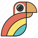 animal, bird, head, parrot, toucan icon