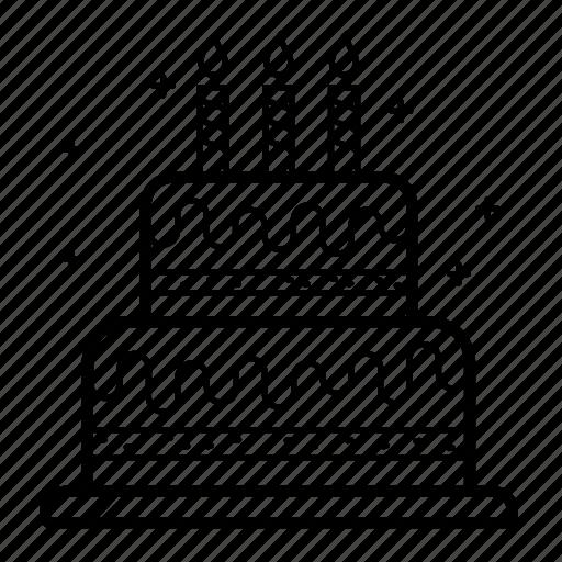 birthday, birthday cake, cake, candles, desert, line, sweet icon