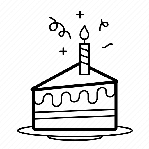 birthday, cake, candle, desert, slice, sparkle, sweet icon