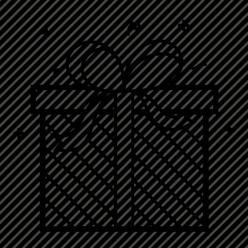 birthday, bow, gift, line, present, ribbon, sparkle icon