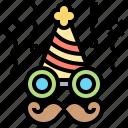 confetti, costume, equipment, hat, mustache