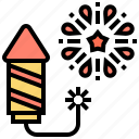 celebration, colorful, fireworks, cracker, rocket icon
