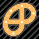 biscuit, cookie, cracker, pretzel, pretzel cookie icon