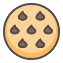 biscuit, chocolate chip, chocolate chip cookie, cookie, cracker icon