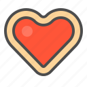 biscuit, cookie, cracker, heart, jam icon