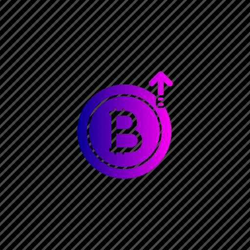 bitcoin, growth, hike, increase, price, rate icon
