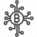 bitcoin, bitcoins, chip, currency, digital, money icon