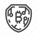 bitcoin, blockchain, crypto, currency, secure, security, shield icon