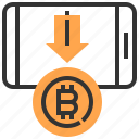 banking, bitcoin, coin, currency, finance, money, smartphone icon