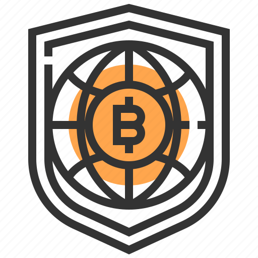bitcoin, currency, finance, money, protect, security, shield icon