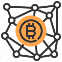 banking, bitcoin, cash, connection, currency, finance, money icon