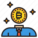 bitcoin, business, currency, man, money icon
