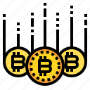 bitcoin, business, currency, down, money icon