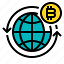 bitcoin, business, currency, money, wide, world icon