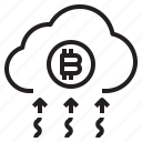 bitcoin, business, cloud, currency, money icon
