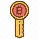 banking, bitcoin, currency, finance, key, money, security icon