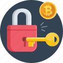 bitcoin, coin, cryptocurrency, key, lock, private, public icon