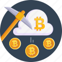 bitcoin, cloud, coin, cryptocurrency, currency, mining, money icon