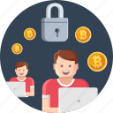 cryptocurrency, currency, digital, safe, security, transaction icon
