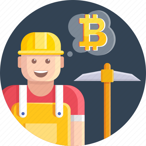 bitcoin, cryptocurrency, currency, digital, man, miner icon