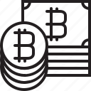 banknote, bitcoins, coin, cryptocurrency, digital, line, money icon
