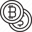 bitcoins, coin, cryptocurrency, digital, dollar, line, money icon