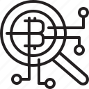 bitcoins, cryptocurrency, digital, glass, line, magnifying, mining, money, search icon