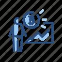 bitcoin, chart, person, presentation icon
