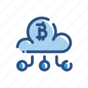 bitcoin, cloud, currency, transfer icon
