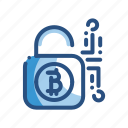 bitcoin, currency, lock, security icon