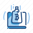 bitcoin, laptop, online, payment icon